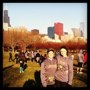 Modeling our cozy race swag in front of the skyline.