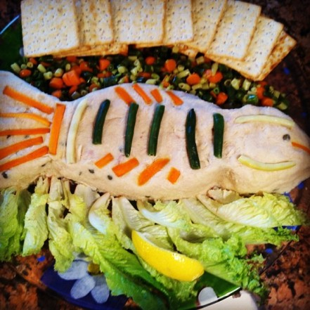 A fish made out of fish! An adorable concoction made of tuna, pureed potatoes, and capers.
