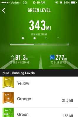Hit a running milestone with my Nike+ during my hill run earlier this week!