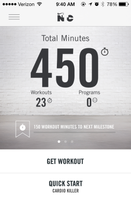 Hit another milestone with my Nike Training Club app!