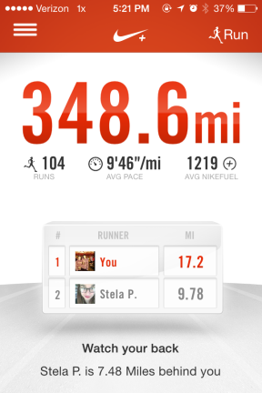 How my Nike+ currently looks - just short of 350 miles since I started running last summer!