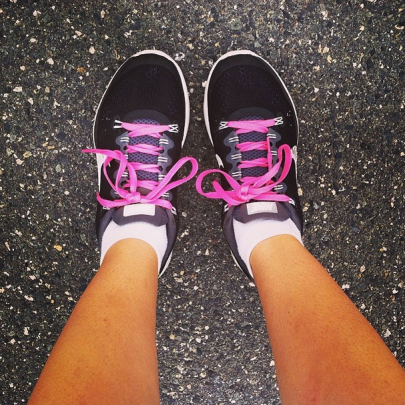 Finally put my Sweat Pink laces on my shoes! Just in time for National Running Day :)